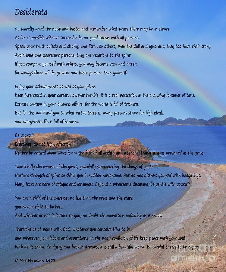 Desiderata Photograph - Desiderata on Beach Scene with Rainbow by Barbara Griffin