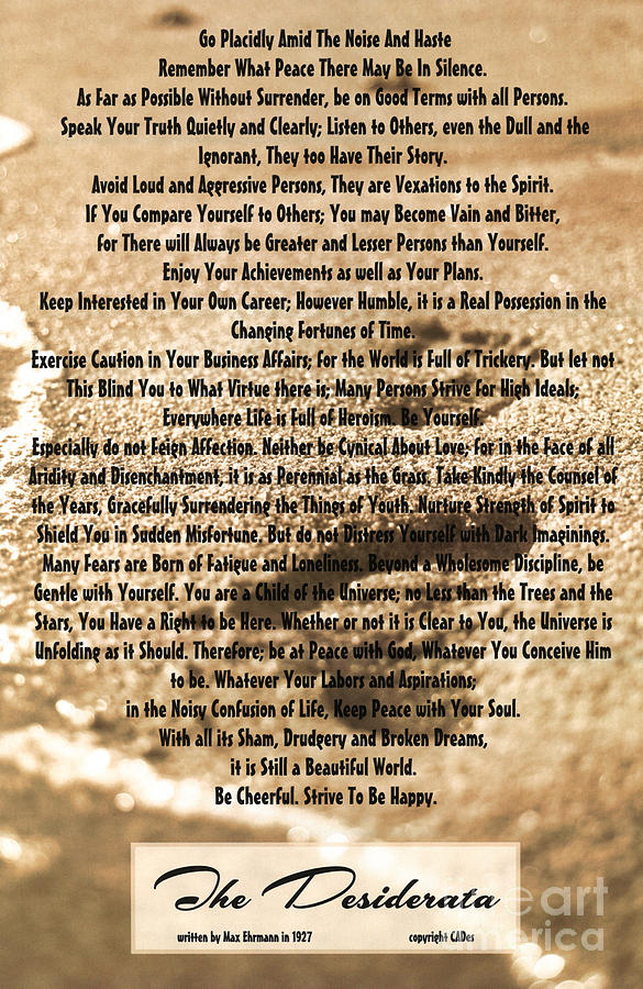 image regarding Footprints Poem Printable named Desiderata Upon Footprints Within just The Sand