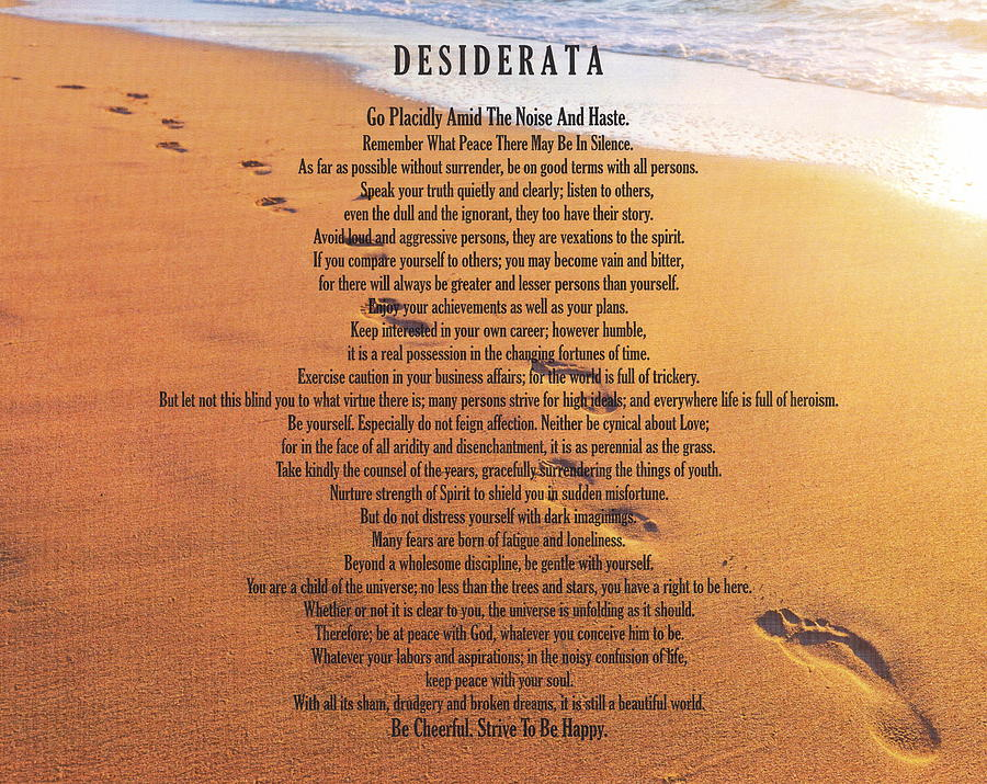 Desiderata Poem On Footprints Typography Art Painting By