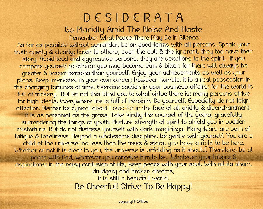 Desiderata Poem On Golden Sunset Painting By Desiderata
