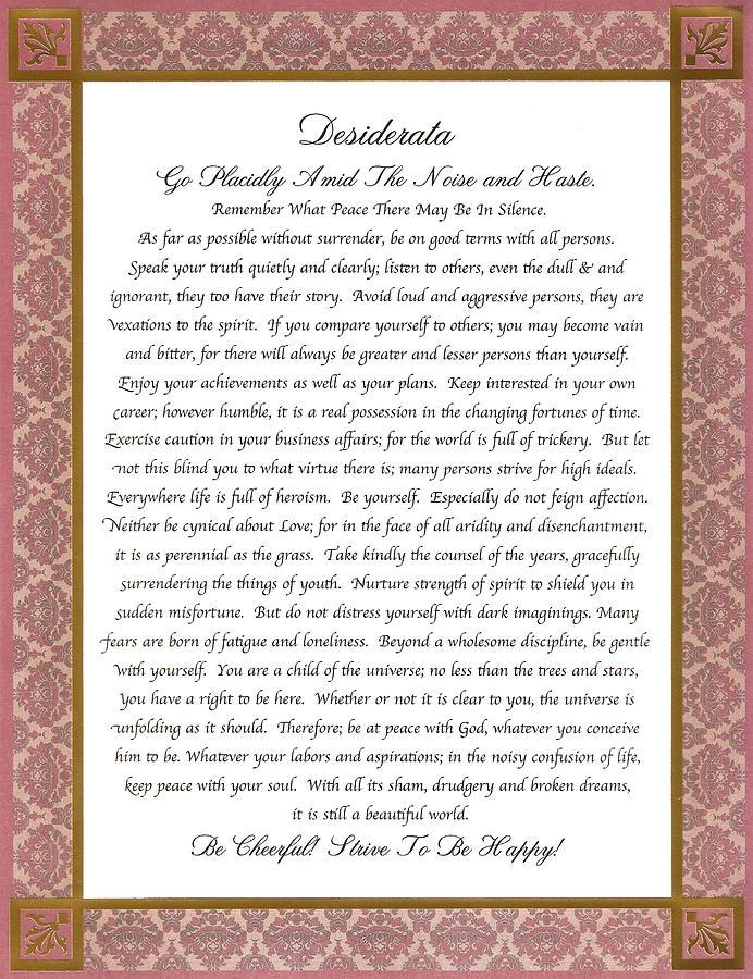 Desiderata Poem Poster Mixed Media by Desiderata Gallery