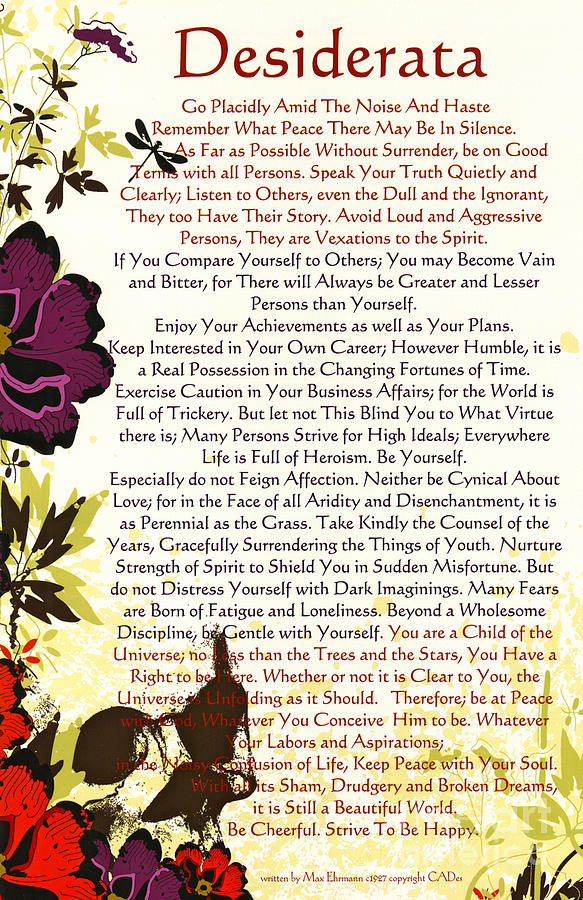 image about Desiderata Printable known as Desiderata Poem Surrounded As a result of Poppies