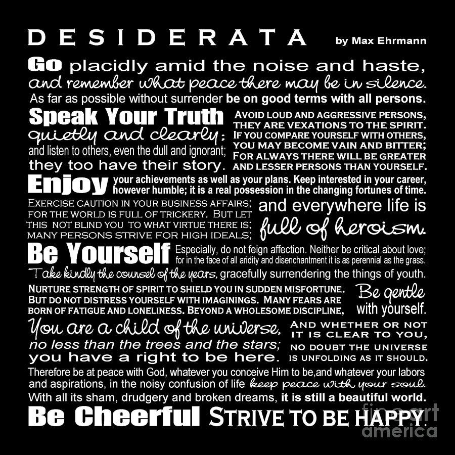 Desiderata Digital Art - Desiderata - White Text On Black Background - Reversed Type by Ginny Gaura