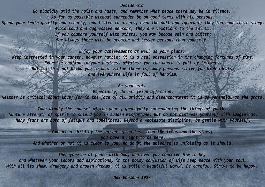 Desiderata Mixed Media - Desiderata Winter Scene by Dan Sproul