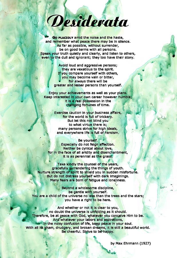 Desiderata Painting - Desiderata - Words Of Wisdom by Sharon Cummings