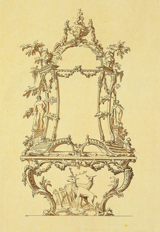 Rococo Painting - Design For A Console Table by John Linnell