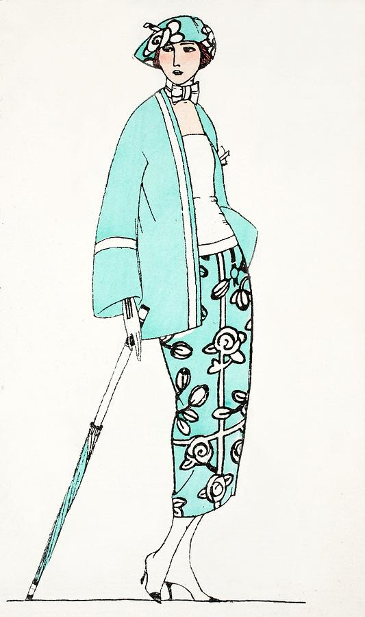 Design For A Day Dress C 1919 Painting by French School