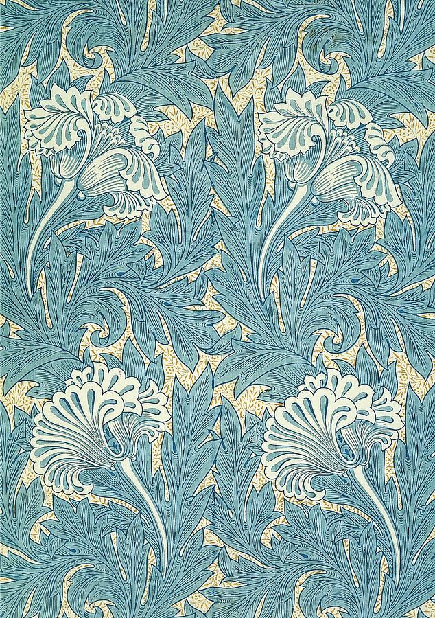 William Digital Art - Design In Turquoise by William Morris