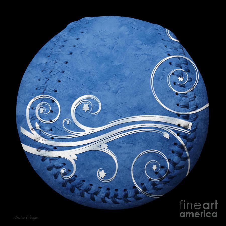 Baseball Photograph - Designer Blue Baseball Square by Andee Design