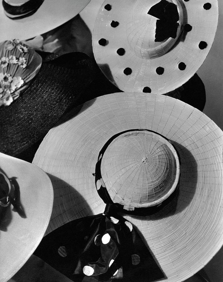 Designer Cartwheel Hats Photograph by Horst P. Horst