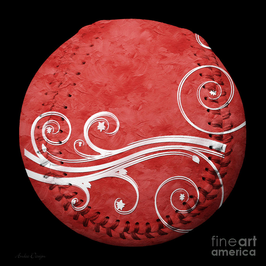 Baseball Photograph - Designer Red Baseball Square by Andee Design