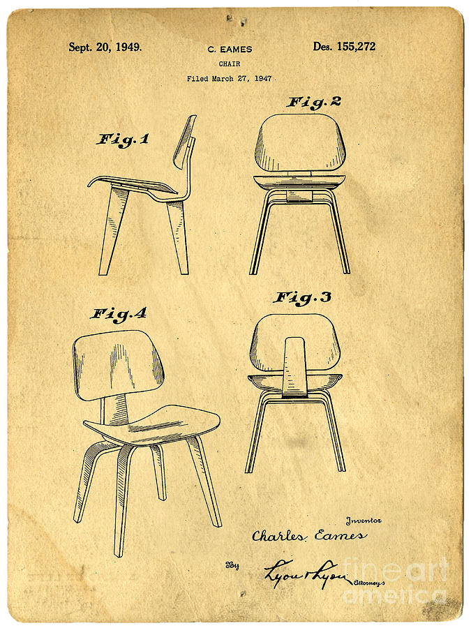 Patent Drawing - Designs For A Eames Chair by Edward Fielding