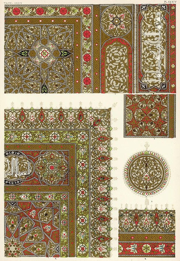Owen Drawing - Designs From A Copy Of The  Koran by Mary Evans Picture Library