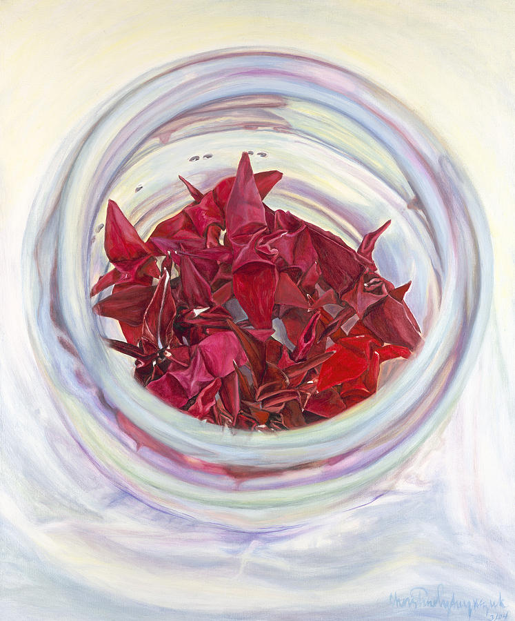 Origami Cranes Painting - Desire by Christine Lytwynczuk