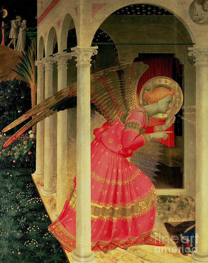 Arcade Painting - Detail From The Annunciation Showing The Angel Gabriel by Fra Angelico