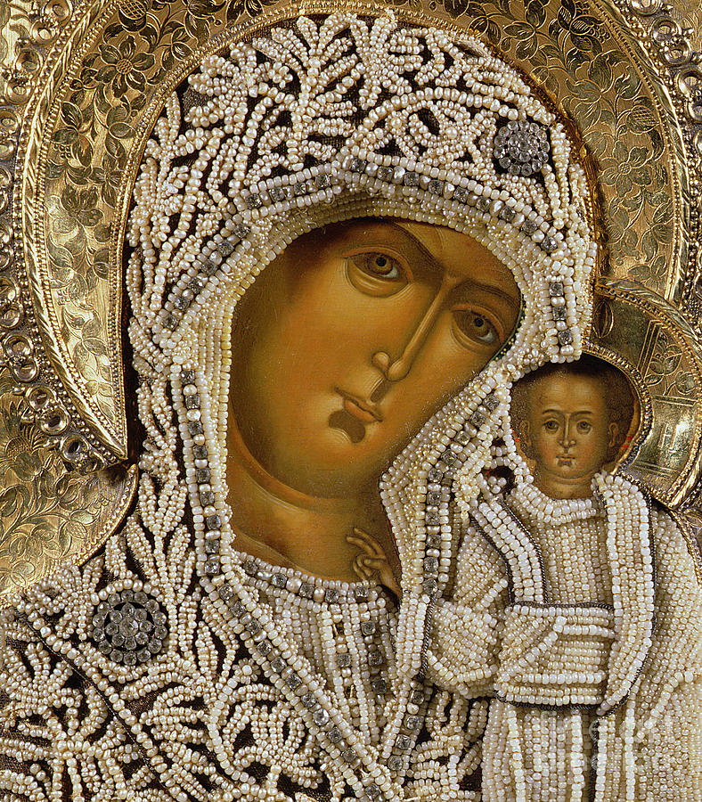 Russia Mixed Media - Detail Of An Icon Showing The Virgin Of Kazan By Yegor Petrov by Russian School