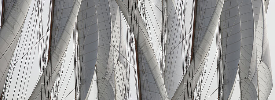 Horizontal Photograph - Detail Of Sail Rigging by Panoramic Images