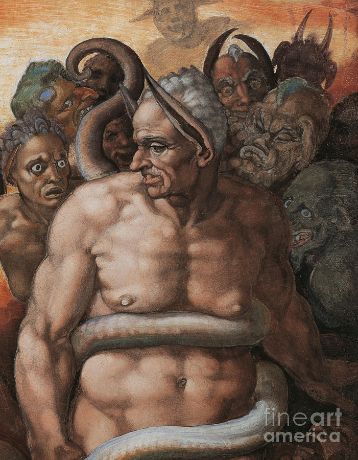 Michelangelo Canvas Painting - Detail Of The Last Judgment by Michelangelo