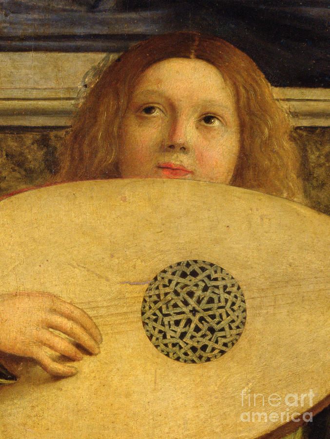 Musical Painting - Detail Of The San Giobbe Altarpiece by Giovanni Bellini