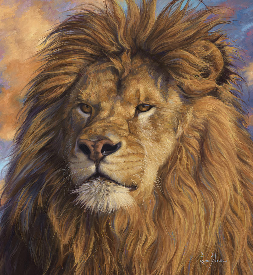 Lion Painting - Watchful Eyes - Detail by Lucie Bilodeau