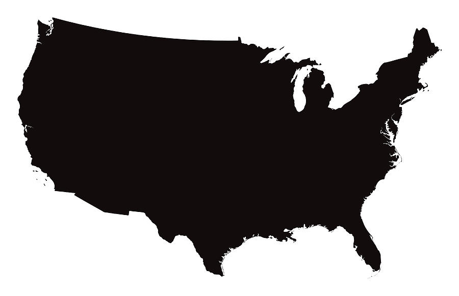 Detailed Map of the United States of America Drawing by Bamlou