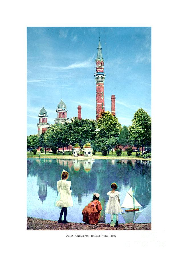 Detroit Digital Art - Detroit - Gladwin Waterworks Park - Jefferson Avenue At The Detroit River - 1905 by John Madison