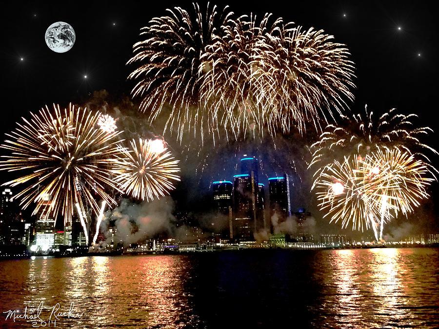 Detroit Photograph - Detroit Fireworks by Michael Rucker