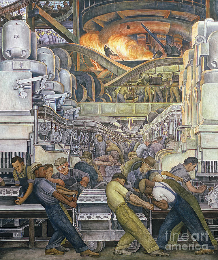 Machinery Painting - Detroit Industry  North Wall by Diego Rivera