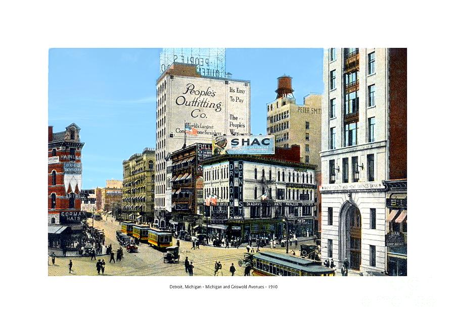 Detroit Digital Art - Detroit - Michigan And Griswold Avenues - 1910 by John Madison