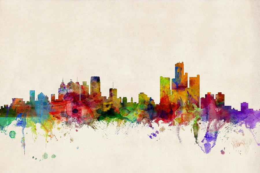 Watercolour Digital Art - Detroit Michigan Skyline by Michael Tompsett