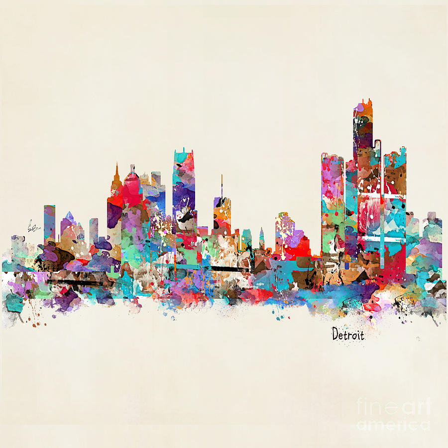 Detroit Michigan Skyline Painting - Detroit Michigan Skyline Square by Bri Buckley