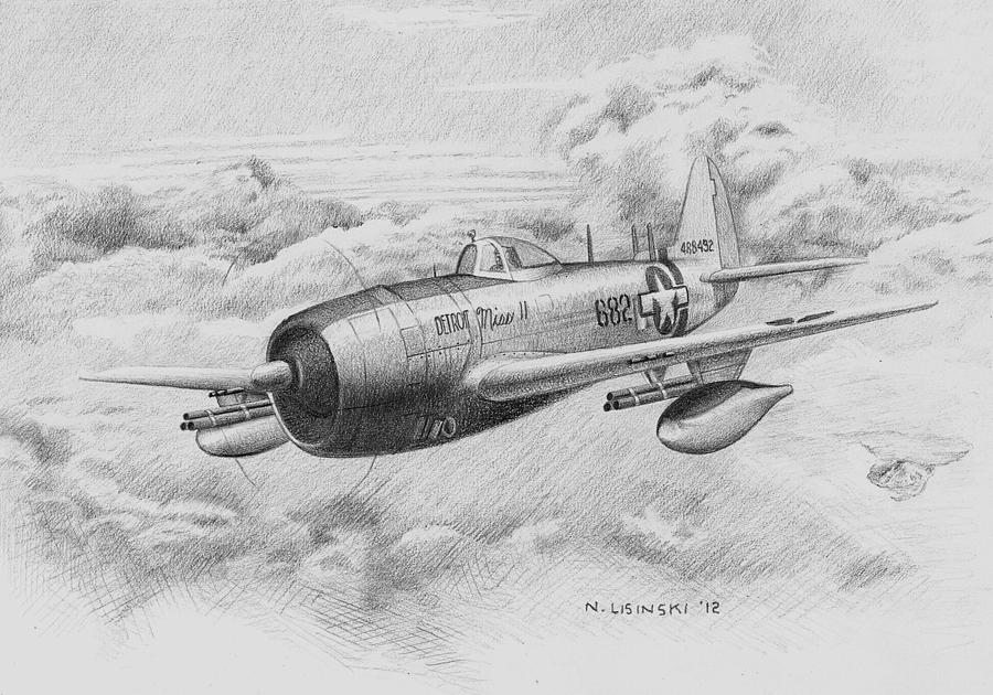 Fighter Plane Painting - Detroit Miss II by Norb Lisinski