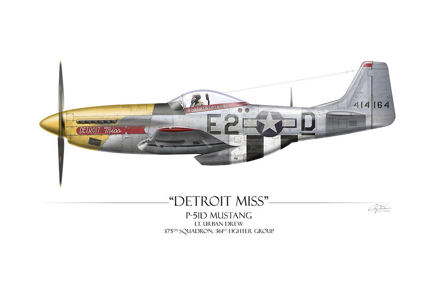 Aviation Painting - Detroit Miss P-51d Mustang - White Background by Craig Tinder