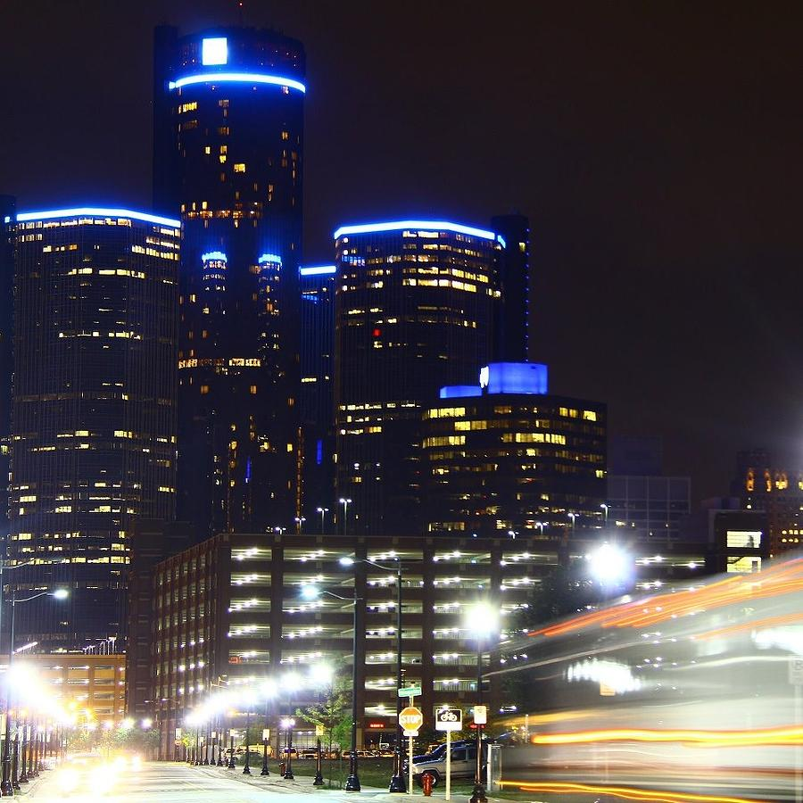 Detroit Night Scape Photograph by Rexford L Powell