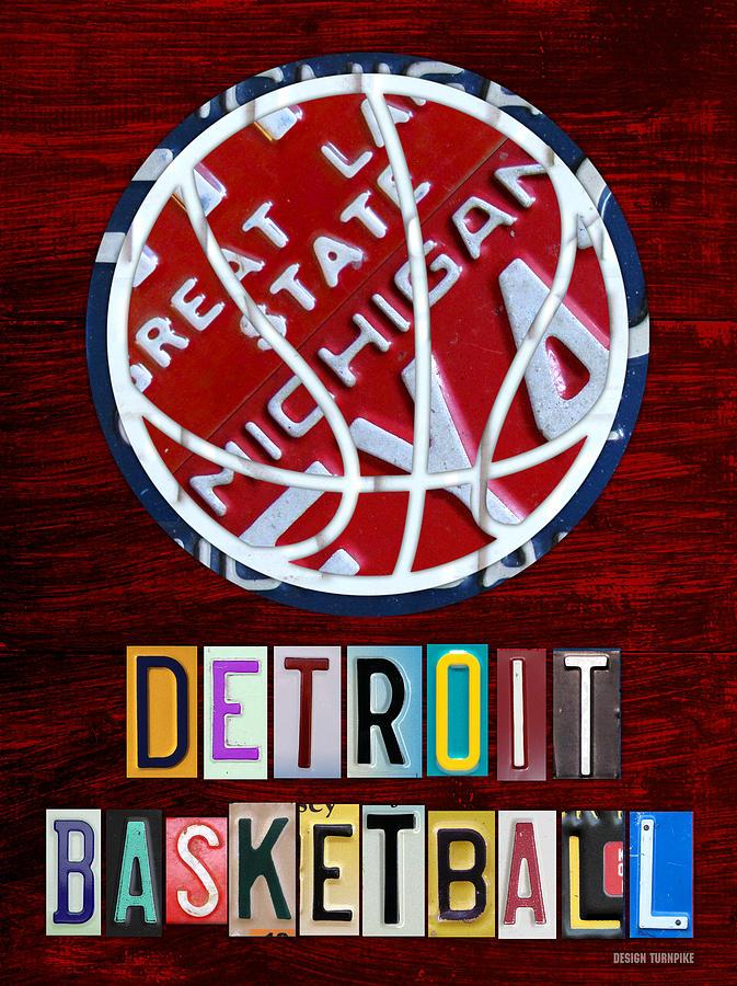 Detroit Mixed Media - Detroit Pistons Basketball Vintage License Plate Art by Design Turnpike