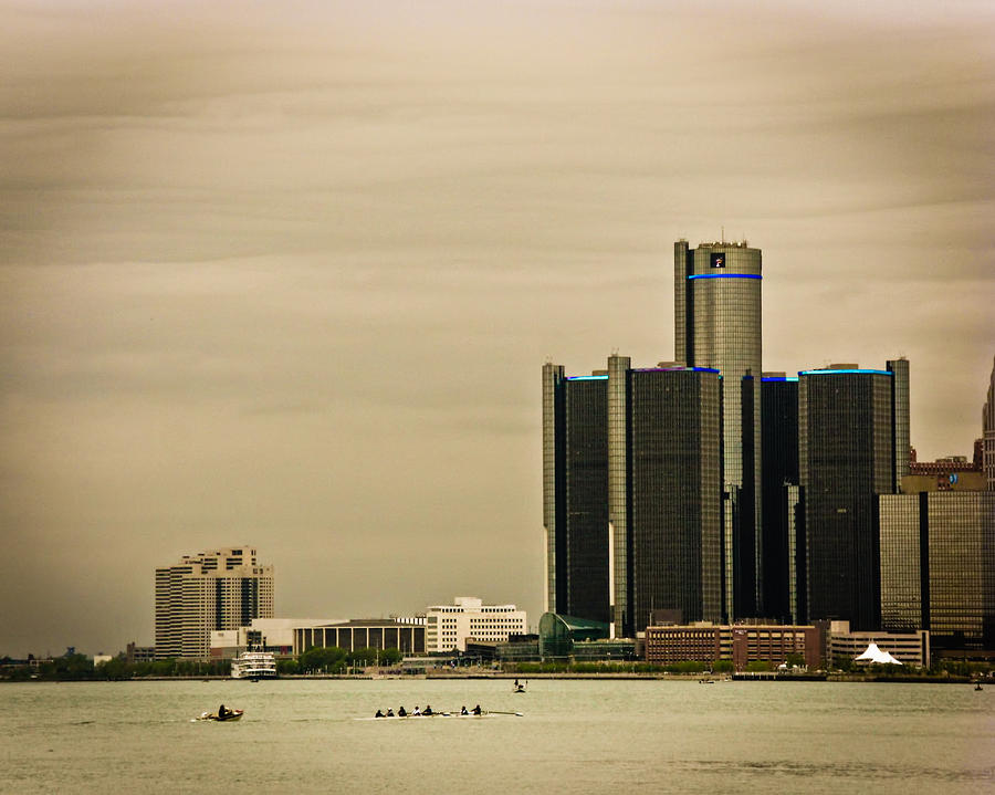 Sculling Photograph - Detroit River by Winnie Chrzanowski