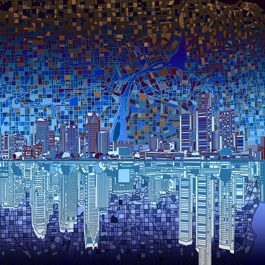Detroit Skyline Abstract 2