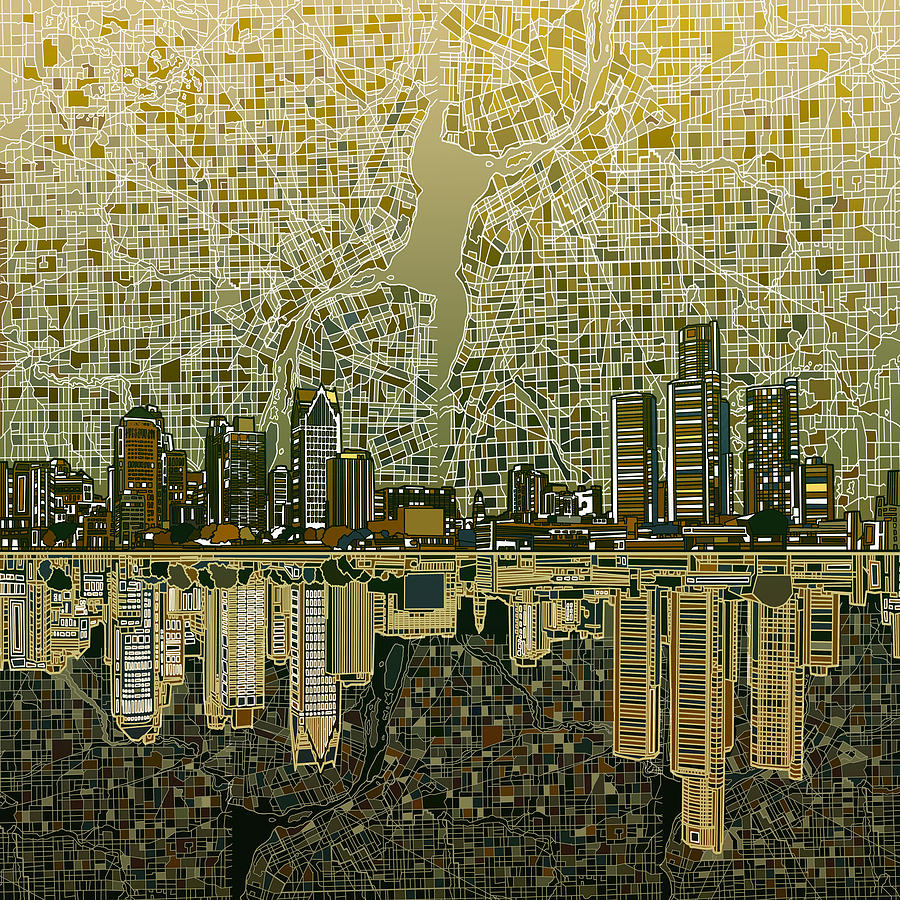 Detroit Skyline Abstract 4