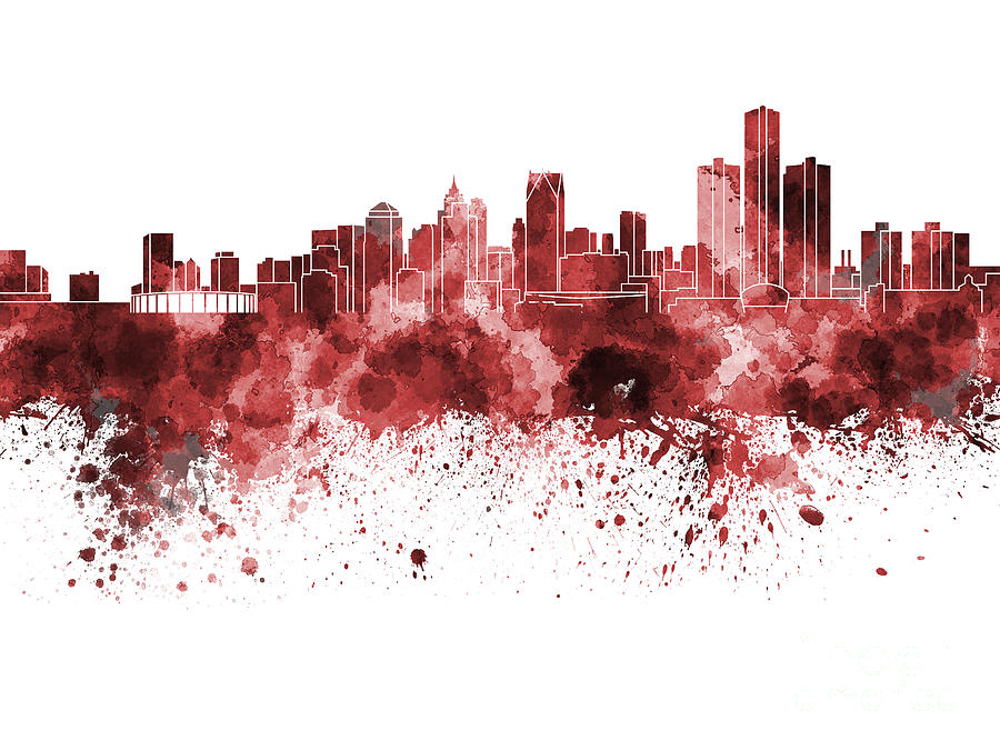 Detroit Skyline Painting - Detroit skyline in red watercolor on white background by Pablo Romero