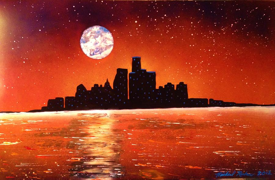 Detroit Skyline Painting By Michael Rucker