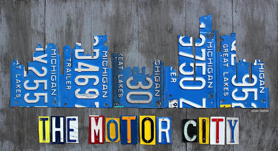 Detroit the motor city skyline license plate art on gray for Motor city detroit mi