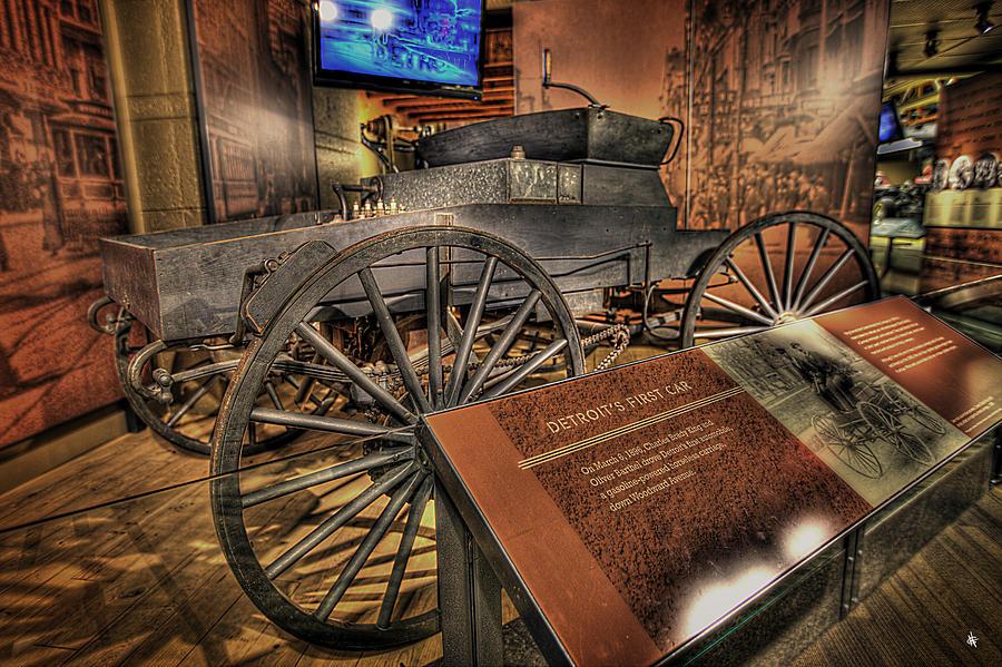The Wheel Photograph - Detroits First Car by Nicholas  Grunas