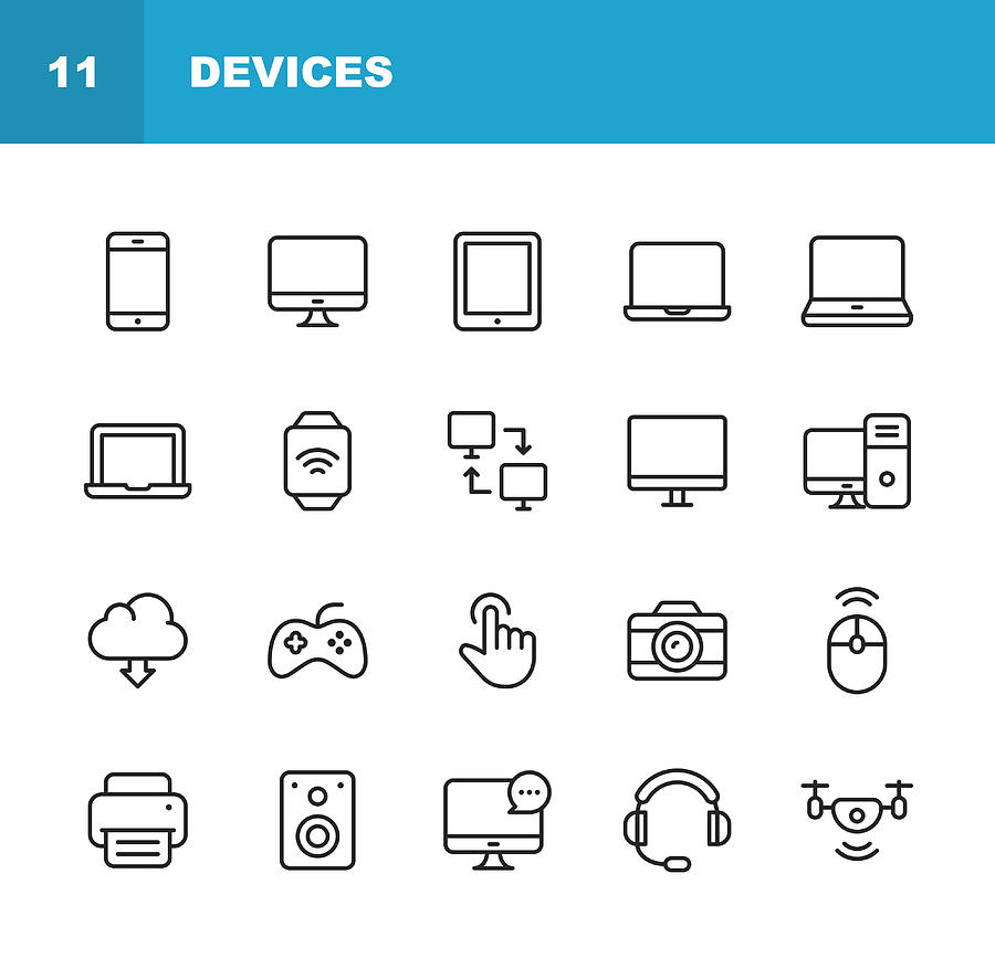 Devices Line Icons. Editable Stroke. Pixel Perfect. For Mobile and Web. Contains such icons as Smartphone, Printer, Smart Watch, Gaming, Drone. Drawing by Rambo182