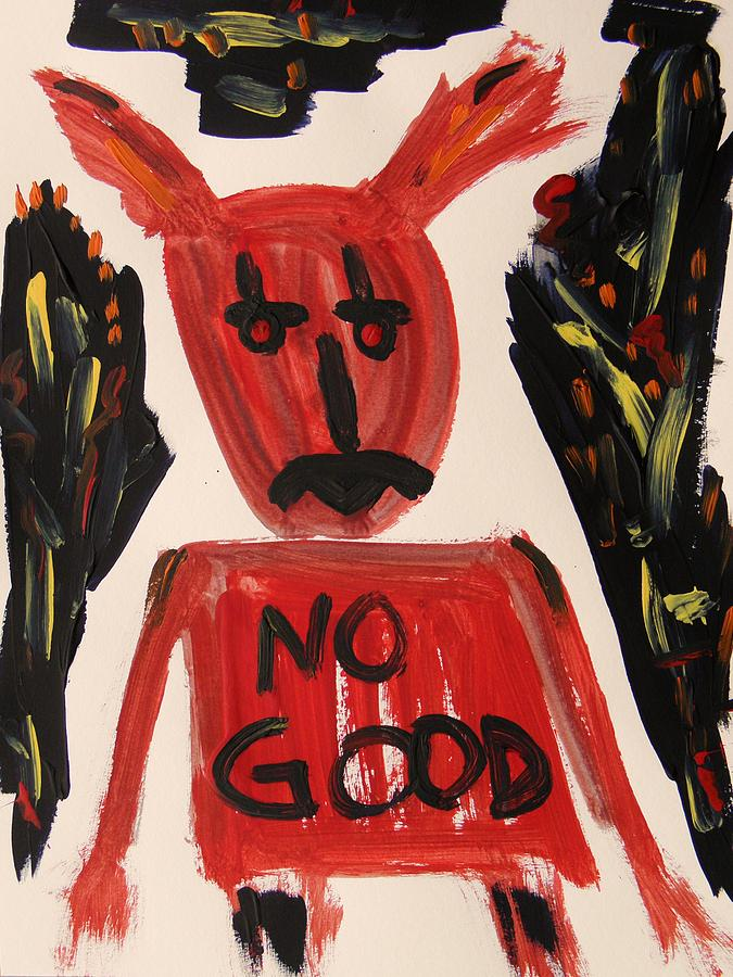 Mcw Painting - devil with NO GOOD tee shirt by Mary Carol Williams