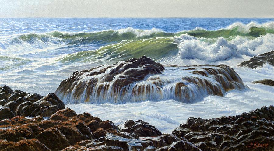 Seascape Painting - Devils Churn Area-oregon Coast by Paul Krapf