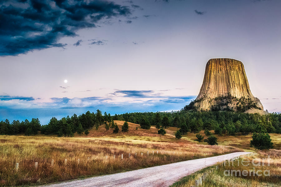 Devils Tower at Sunset and Moonrise by Sophie Doell