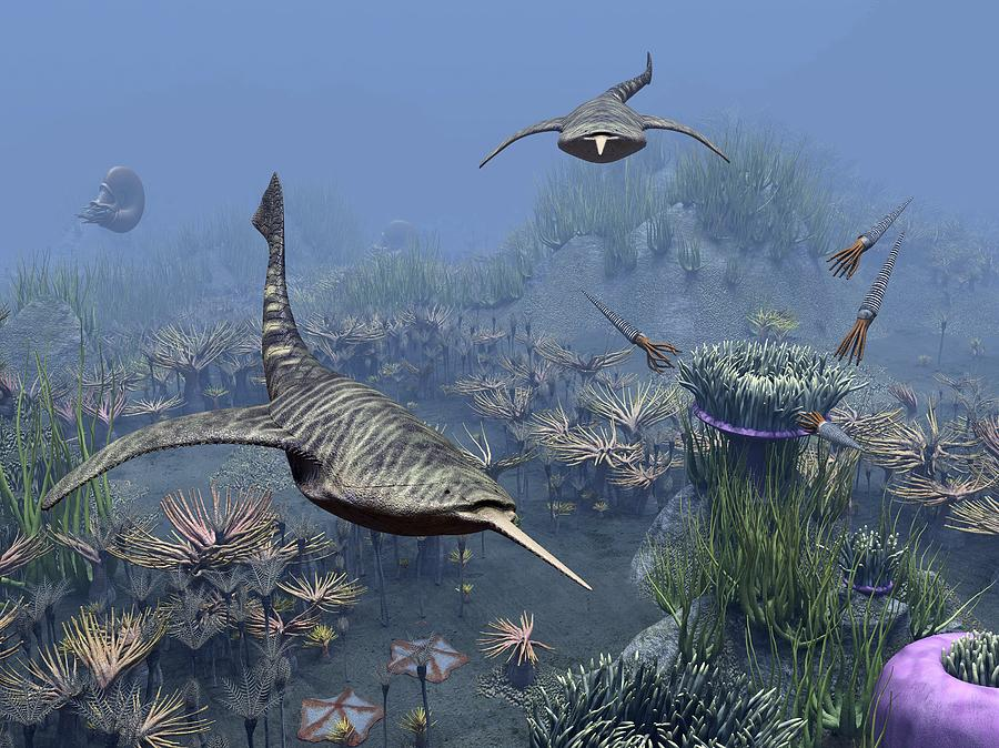 Animal Photograph - Devonian Sea, Artwork by Science Photo Library