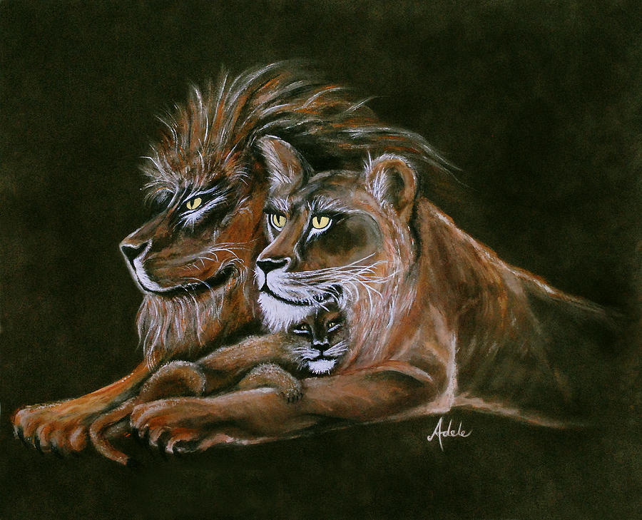 Lion Painting - Devotion by Adele Moscaritolo