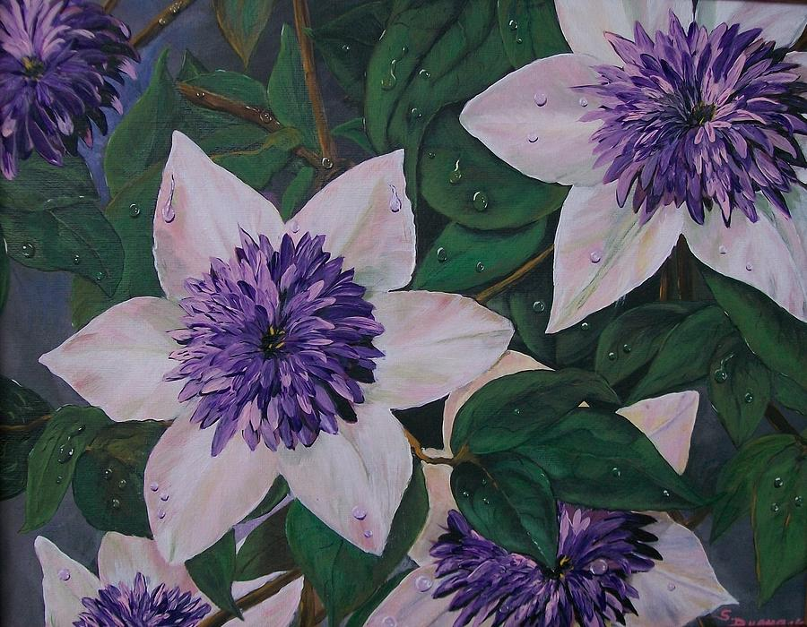 Clematis After The Rain Painting