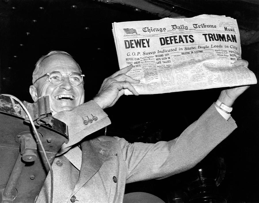 1948 Photograph - Dewey Defeats Truman Newspaper by Underwood Archives